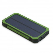 Li-Polymer Portable Power Pack - 15000MAH, 2 USB Ports, Solar Charging, LED Light, Green, KSOL Power