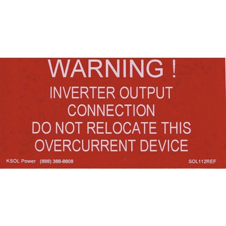 WARNING: INVERTER OUTPUT CONNECTION LABEL - RED REFLECTIVE