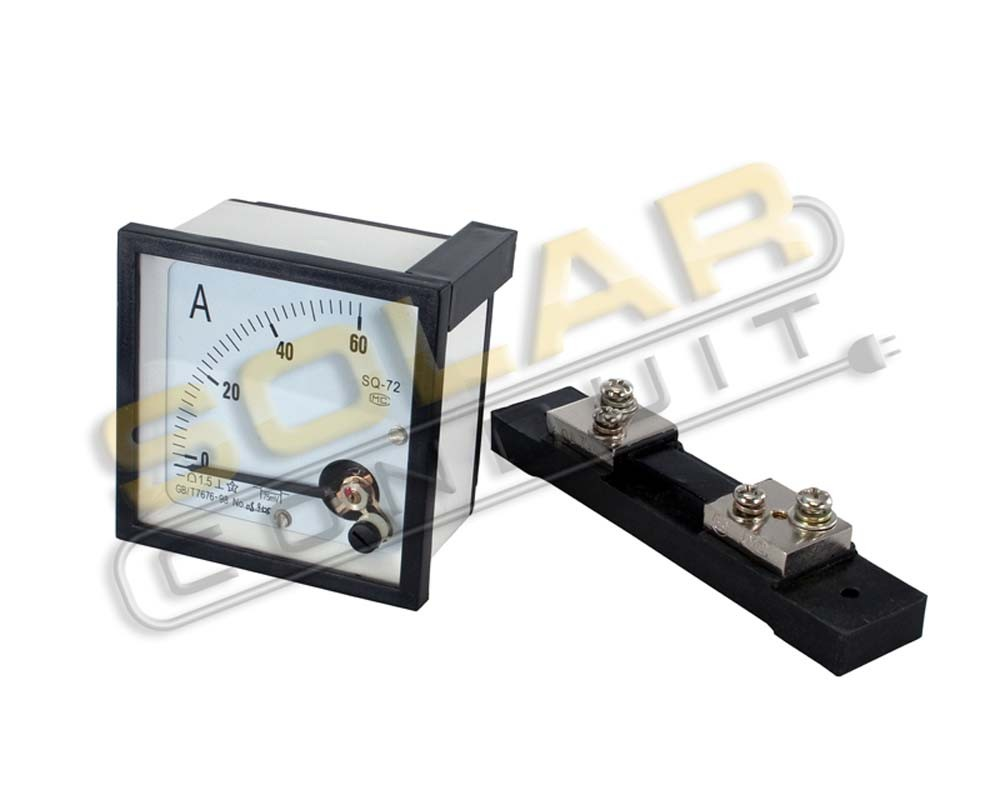 AMP METER 0-60 ADC 72MM SQUARE W/ SHUNT