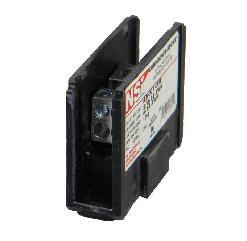 POWER DISTRIBUTION BLOCK, 1-POLE, (1) 2/0-14 AWG / (4) 4-14 AWG WIRE, 175 AMP PER POLE, P/N AS-K1-N4