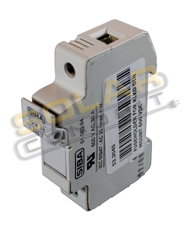FUSE HOLDER - DIN RAIL MOUNT FOR MIDGET (10X38MM) FUSES, 600 VDC, LOCKING, SIBA