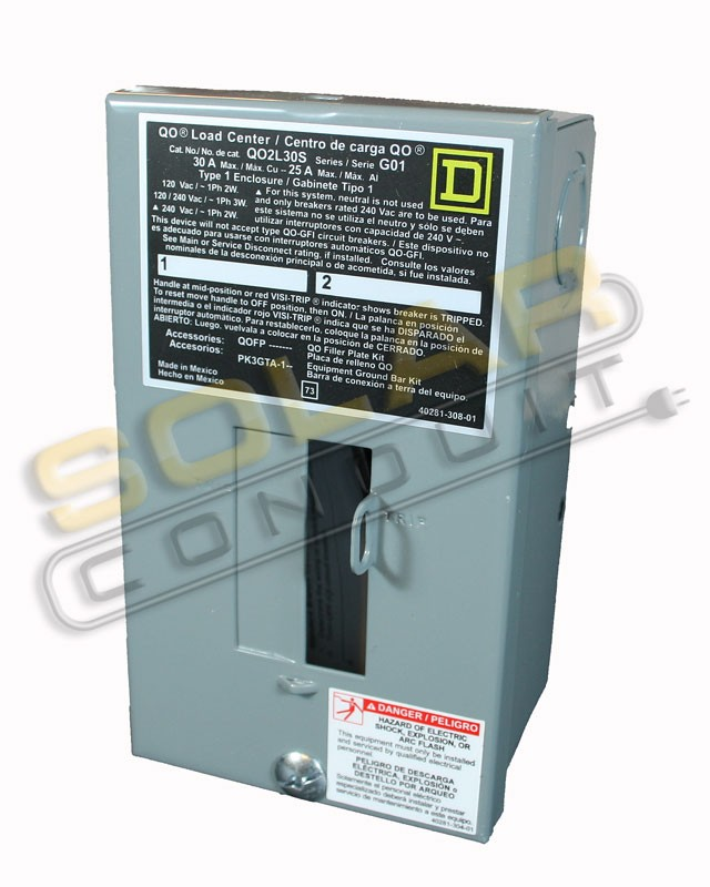 SQUARE-D QO LOAD CENTER, 2 CIRCUIT, 30 AMP, SURFACE MOUNT, INDOOR
