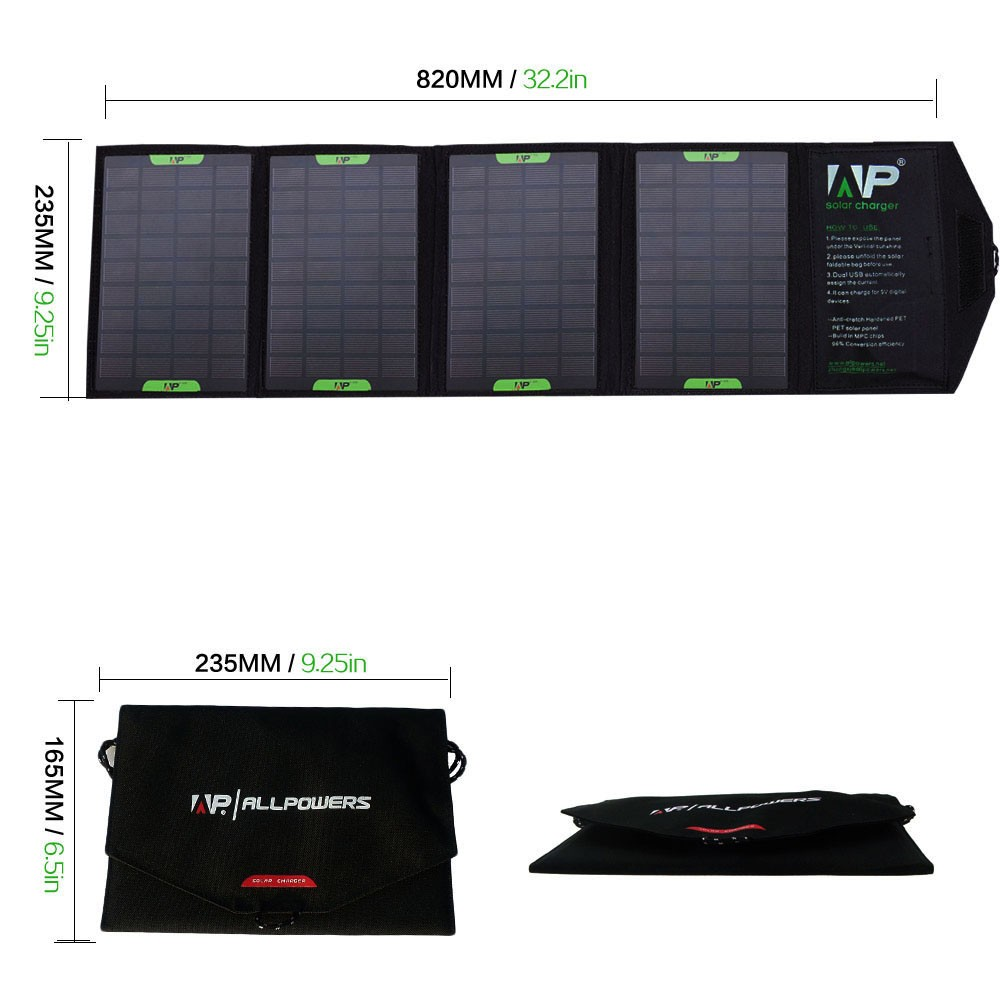 PORTABLE FOLDABLE SOLAR CHARGER - 14 WATT, 18/12/5 VDC, USB, BLACK, ALLPOWERS