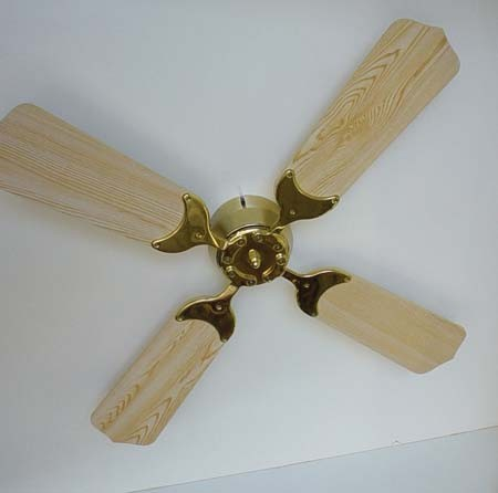 "Ceiling Fan 12 Volt DC, 42"" Oak Blades, Brass Hub w/Remote, KSOL Power"