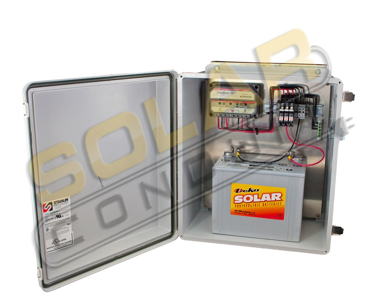 REMOTE POWER SYSTEM - 15 AMP, 12 VDC CHARGE CONTROLLER / 97 AH BATTERY / 85 WATT PV MODULE, KSOL POWER