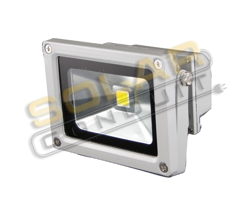 LED BRACKETED OUTDOOR FLOODLIGHT - 10 WATT, 1 LED, 12/24 VOLT DC, COOL WHITE (5000K), KSOL POWER