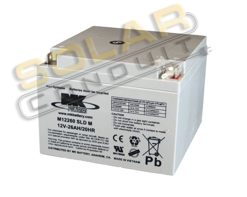 MK BATTERY ES26-12 SMALL SEALED AGM BATTERY - 12 VOLT DC, 26 AMPHOUR