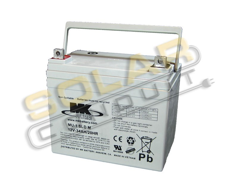 MK BATTERY ES33-12 SMALL SEALED AGM BATTERY - 12 VOLT DC, 34 AMPHOUR