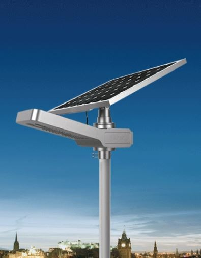 SOLAR LED STREET/AREA LIGHT - 30 WATT LEDS, 4200 LUMENS, 80 WATT ADJ SOLAR PANEL, DAYLIGHT (6000K), REMOTE, KSOL POWER, P/N SCNH30