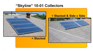 SOLAR HOT WATER SYSTEM - OPEN LOOP, 3-5 PEOPLE, 40 SQUARE FOOT COLLECTOR, FOR NON-FREEZE CLIMATES, 80 GAL. TANK, SKYLINE 3