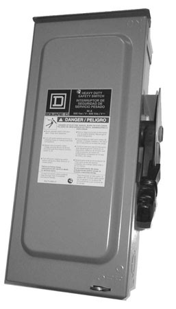 SQUARE-D DISCONNECT - FUSIBLE, H323NRB, 100AMP, 240V AC