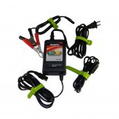 12 VDC BATTERY CHARGER/ MAINTAINER - 2 AMP, REGULATED, THREE STAGE, BATTERY CLIPS, RING LEADS, UPG/ENERGIZER