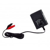 SMALL BATTERY CHARGER BLOCK - 6/12 VOLT DC, 500 MILLIAMP, SINGLE STAGE, ALLIGATOR CLIP LEADS, UPG, P/N D1724