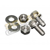 "STAINLESS STEEL BATTERY BOLT KIT - 0.25"" X 1.00"" BOLT, FLAT & SPLIT WASHER & NUT, 1 PR, KSOL POWER"