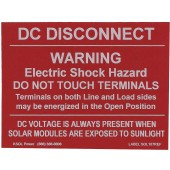 "DC DISCONNECT WARNING LABEL FOR PV INSTALLATIONS - REFLECTIVE, 3""X4"", 1 PIECE LABEL, 10 PAK, KSOL POWER"
