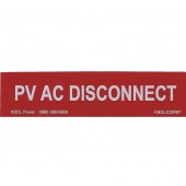 "PV AC DISCONNECT LABEL - RED REFLECTIVE, 1"" X 4"" 1 EACH, KSOL POWER"