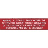 """WARNING: ELECTRICAL SHOCK HAZARD AC PLAQUE - RED WITH WHITE ENGRAVED LETTERS, 1"""" X 4"""", 1 EACH, KSOL POWER"""