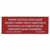 "SOLAR PV LABEL - DC ELECTRICAL SHOCK HAZARD, RED REFLECTIVE VINYL WITH WHITE LETTERS, 1"" X 4"", 1 EACH, KSOL POWER"