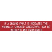 "GROUND FAULT PLAQUE - RED WITH WHITE ENGRAVED LETTERS, 1"" X 4"", 1 EACH, KSOL POWER"