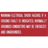 "WARNING: ELECTRICAL SHOCK HAZARD INVERTER PLAQUE - RED WITH WHITE ENGRAVED LETTERS, 2"" X 4"", 1 EACH, KSOL POWER"