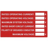 OFF-GRID SOLAR SYSTEM CHARGE CONTROL RATING LABEL - 1 LABEL, TYCO