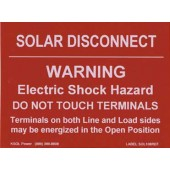 "SOLAR DISCONNECT WARNING LABEL FOR PV INSTALLATIONS - REFLECTIVE, 3""X4"", 1 PIECE LABEL, 1 EA, KSOL POWER"