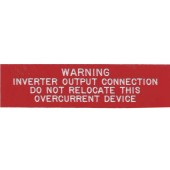 "WARNING: INVERTER OUTPUT CONNECTION PLAQUE - RED WITH WHITE ENGRAVED LETTERS, 1"" X 4"", 1 EACH, KSOL POWER"