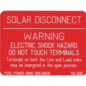 "SOLAR DISCONNECT WARNING PLAQUE FOR PV INSTALLATIONS - RED, 3""X4"", 1 EA, KSOL POWER"