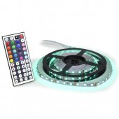 LED FLEXIBLE STRIP (TAPE) LIGHT - 16', 300 COLOR CHANGING LEDS (5050), WATERPROOF, 12 VDC/ 120 VAC, 44 KEY REMOTE, 5A PWR ADAPTER, KSOL POWER