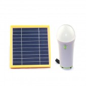 1 LIGHT INDOOR SOLAR LIGHTING SYSTEM - (1) 1W/5VDC BRIGHT LED  SELF-CONTAINED BULB, 2 AH LITHIUM BATTERY, 2W SOLAR PANEL, USB CHARGE PORT, KSOL POWER