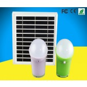 2 LIGHT INDOOR SOLAR LIGHTING SYSTEM - (2) 3W/5VDC SUPERBRIGHT LED SELF-CONTAINED BULB, (2) 5.2 AH LITHIUM BATTERIES, 5W SOLAR PANEL, MULTI-MOBILE CHARGING CABLE, REMOTE, KSOL POWER