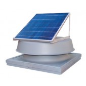 SOLAR ATTIC FAN, 20 WATT ADJUSTABLE PV MODULE, 1275 CFM, CURB-MOUNTED COMMERCIAL, NATURAL LIGHT