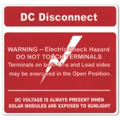 DC DISCONNECT WARNING LABELS FOR PV INSTALLATIONS - 2 PIECE LABEL, 10 PACK, TYCO
