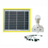 1 LIGHT INDOOR SOLAR LIGHTING SYSTEM - (1) 3W/5VDC SUPERBRIGHT LED BULB ON BASE W/USB PORT, 4.4 AH LITHIUM BATTERY, 3W SOLAR PANEL