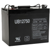 SEALED AGM DEEP-CYCLE SOLAR BATTERY, 12 VOLT DC, 75 AMP HOUR, T881 POST, UNIVERSAL BATTERY, P/N UB12750