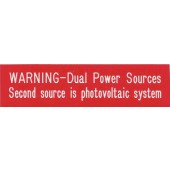 "WARNING-DUAL POWER SOURCES PLAQUE - RED W/WHITE ENGRAVED LETTERS, REFLECTIVE, 1"" X 4"", 1 EACH, KSOL POWER"